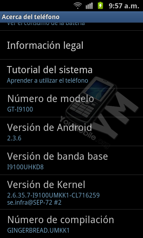 Android 2.3.6 Gingerbread  Galaxy S II